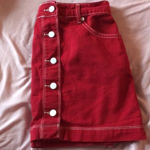 Red Denim Mini Skirt w/ White stitching/buttons
